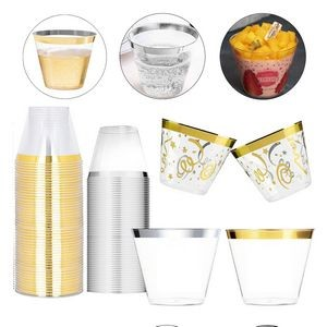 Hard Disposable Plastic Cups With Gold/Silver Rim