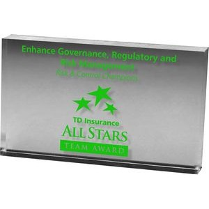 "Clear Rectangular Acrylic Paper Weight (3""x 5""x 3/4"") Screen-printed"